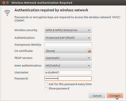 wireless network authentication prompt