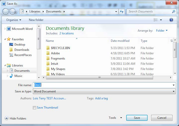 Save As window with Documents on (H:) as default