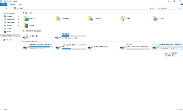 (H:) drive listed among available drives in file explorer